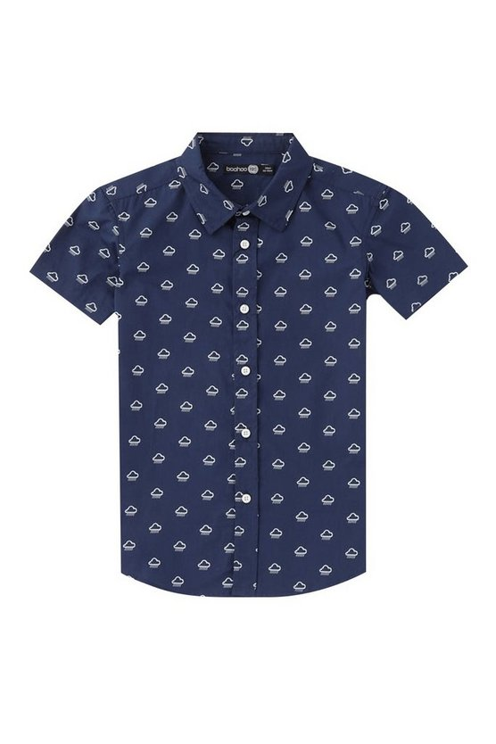 Boys Short Sleeve Rain Cloud Printed Shirt