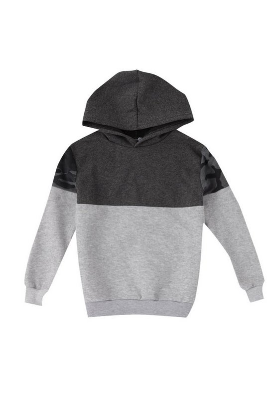 Boys Camo Colour Block Hoodie