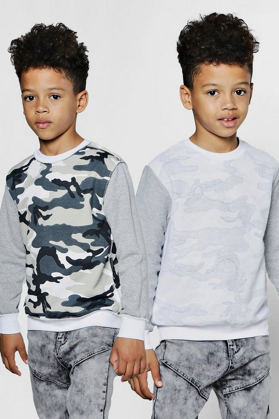 Boys Reverse Camo Panel Sweater