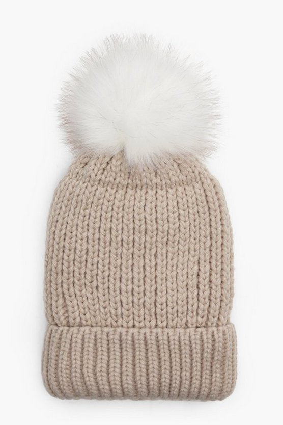 Girls Pom Pom Knit Hat