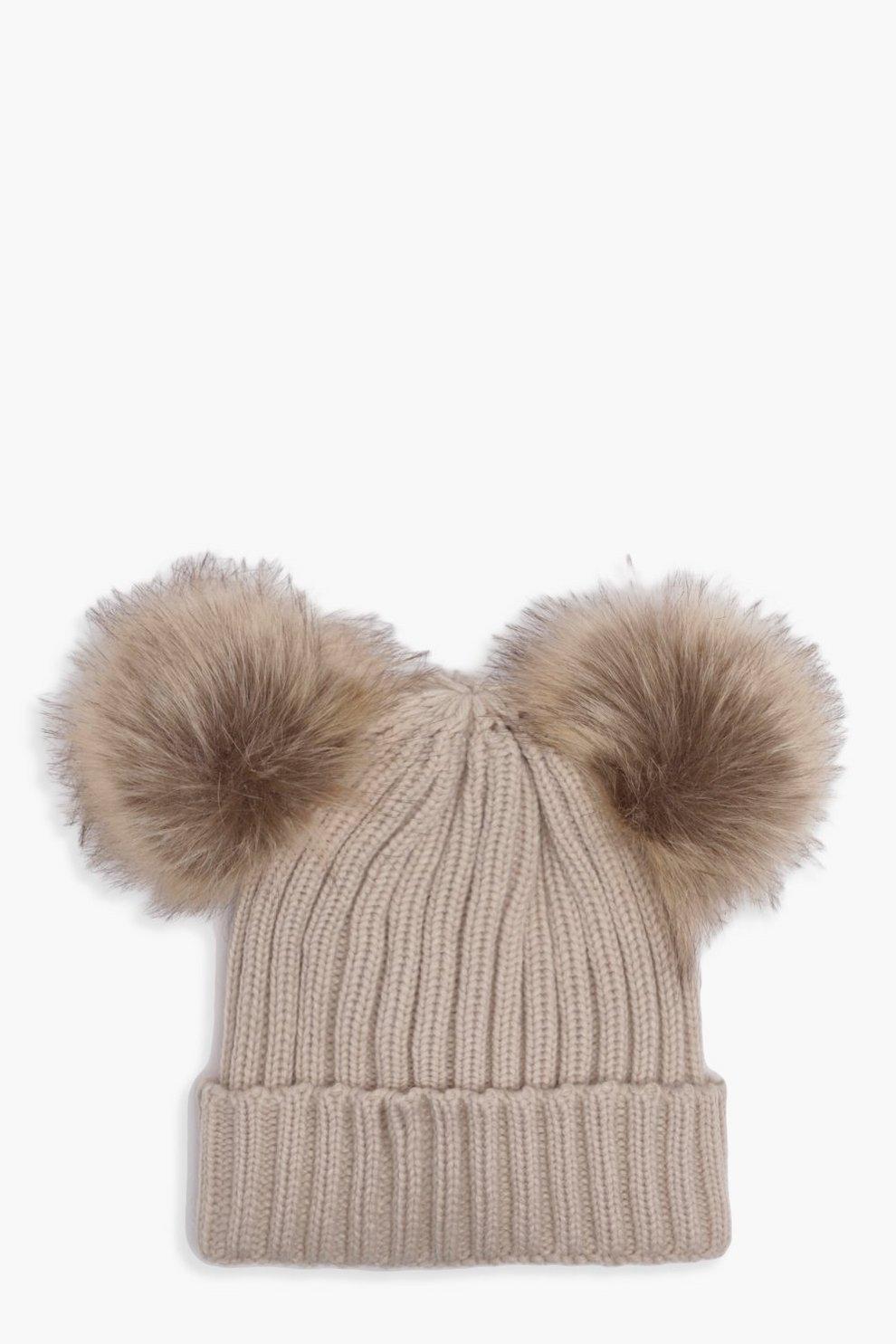 49a44376e82 Girls Double Pom Pom Beanie Hat