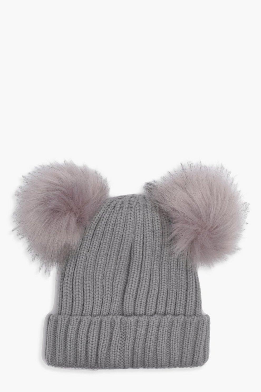 36502d5f641 Girls Double Pom Pom Beanie Hat