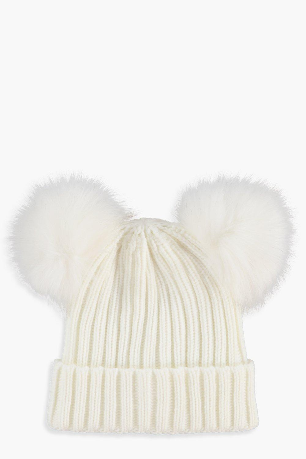 7d7e4274c76 Girls Double Pom Pom Beanie Hat. Hover to zoom