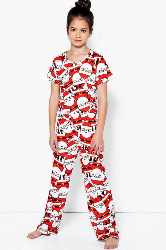 Girls Santa Tee & Bottom Nightwear Set