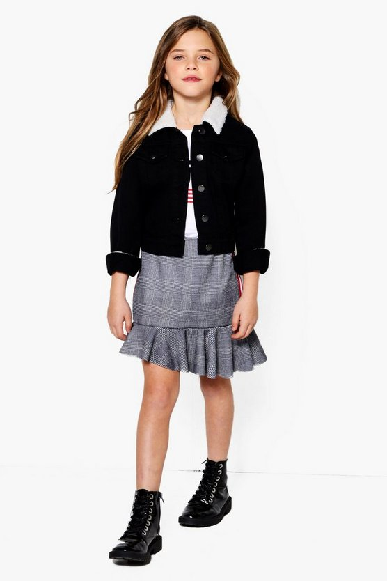 Girls Asymetric Hem Check Tape Skirt