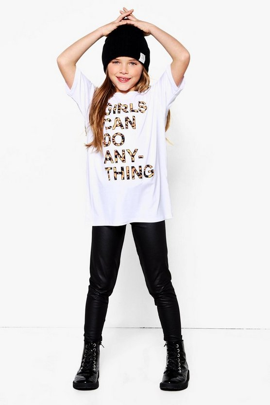 Girls Can Do Anything PU Legging & Tee Set