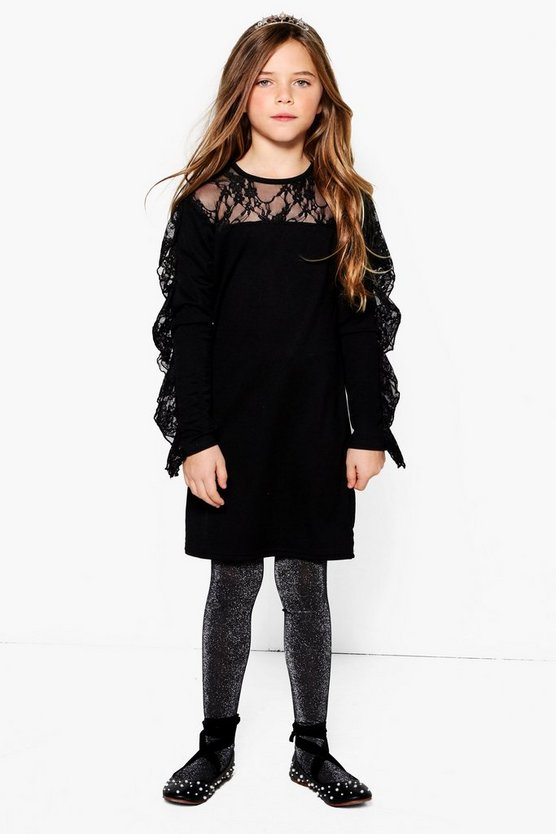 Girls Lace Long Sleeve Ruffle Dress