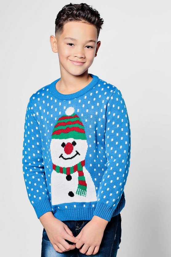 Boys Large Snowman Christmas Jumper
