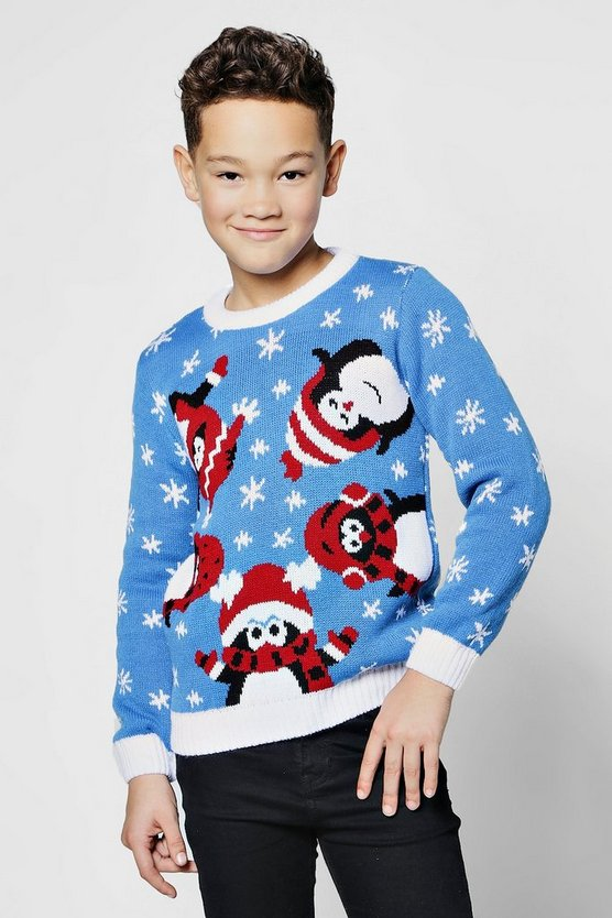 Mens Blue Boys Penguin Christmas Jumper