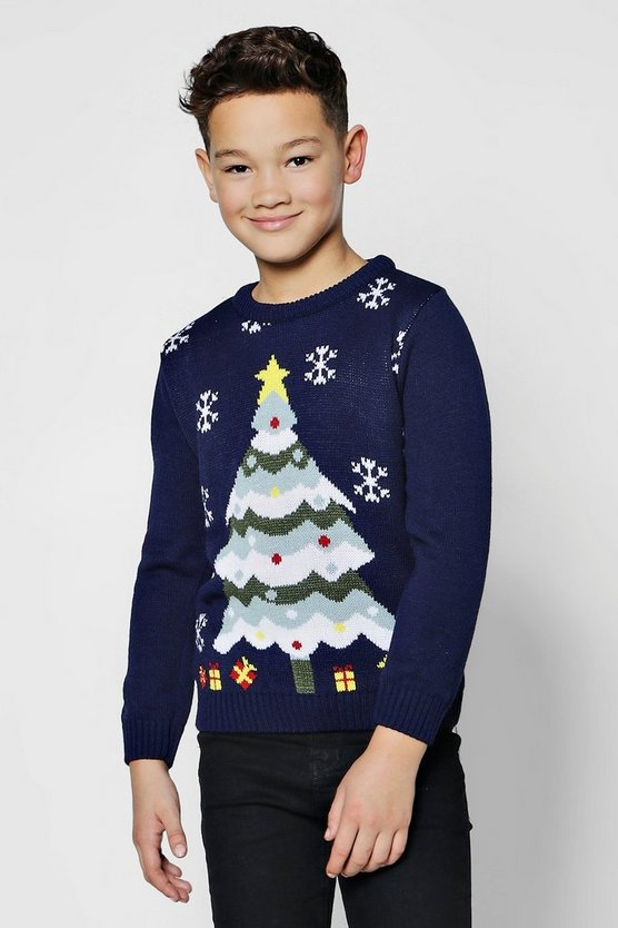 Boys Christmas Tree Jumper