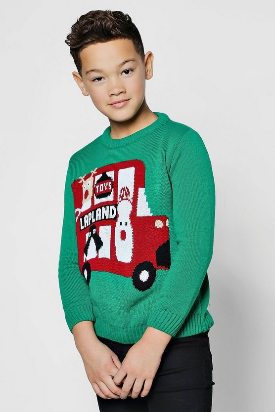 Boys Lapland Bus Christmas Jumper