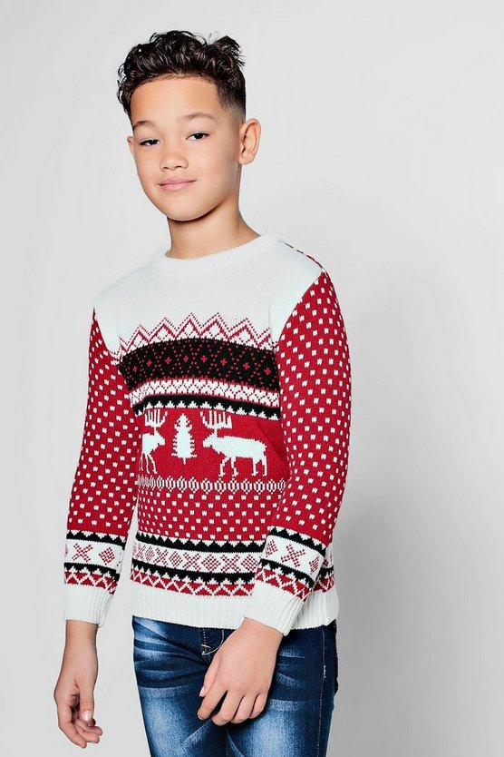 Boys Reindeer Fairisle Christmas Jumper