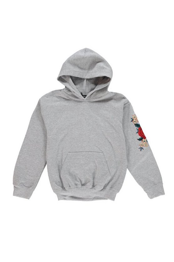 Boys Rose Sleeve Embroidered Hoodie