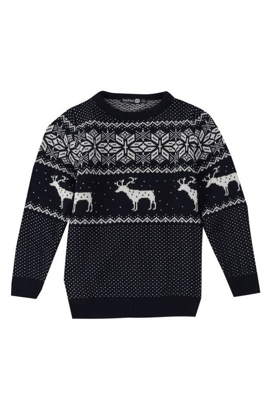 Mens Navy Boys Fairisle Stag Jumper