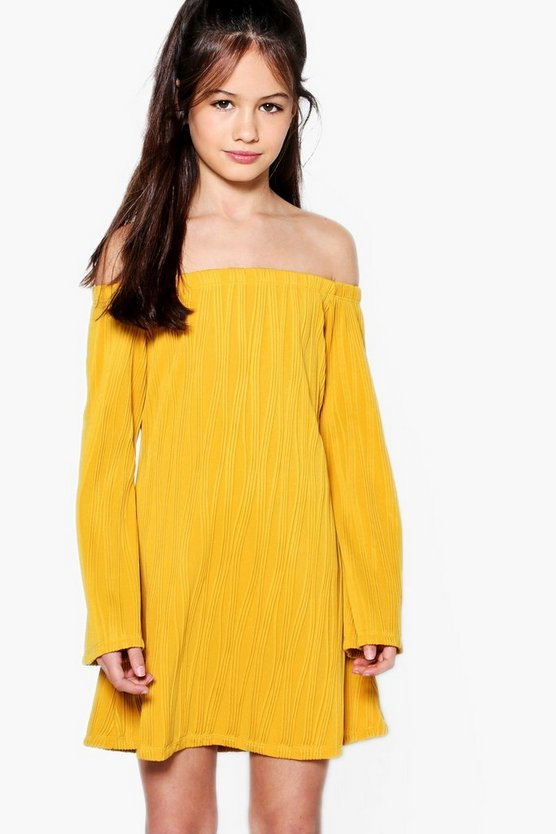 Girls Textured Bardot Wide Sleeve Dress