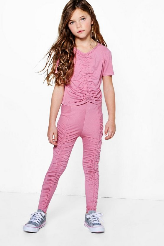 Womens Pink Girls Rouche Front Top & Legging Set