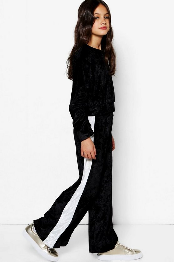 Girls Wide Leg Valour Side Stripe Trouser