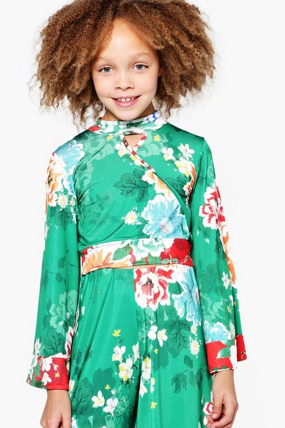 Girls Mixed Oriental Print Wide Sleeve Crop