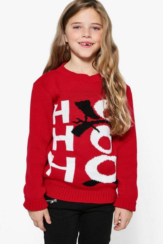 Girls Ho Ho Ho Xmas Jumper