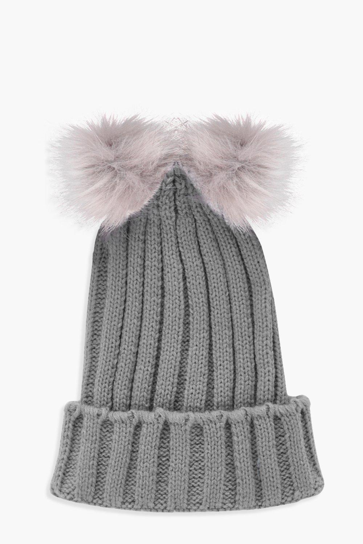 29bae75d182 Girls Double Pom Beanie Hat