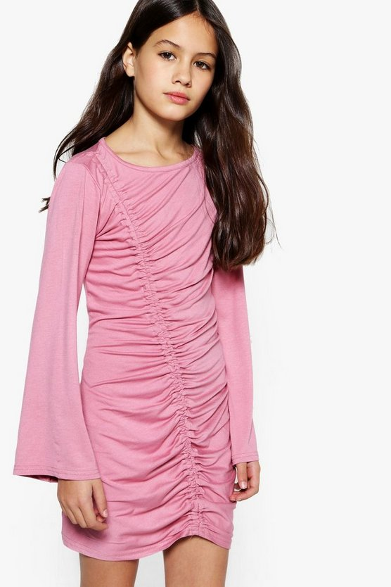 Girls Wide Sleeve Rouche Front