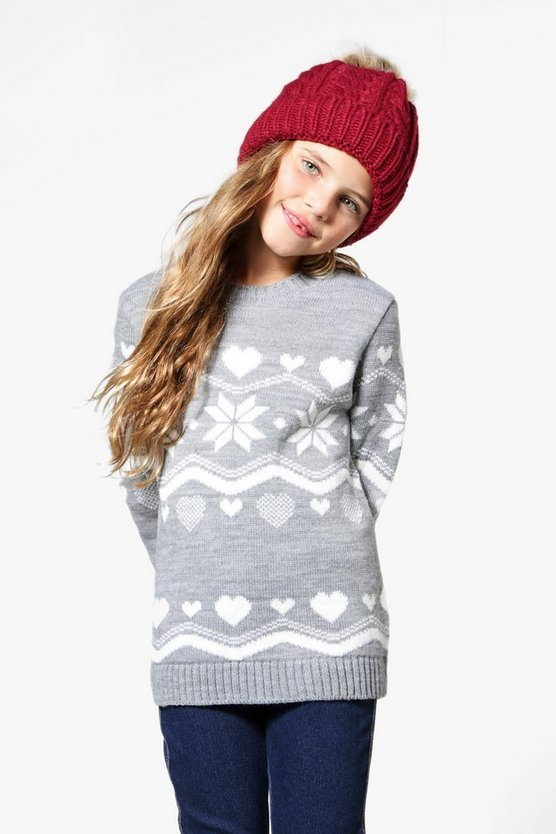 Girls Snowflake Knitted Jumper
