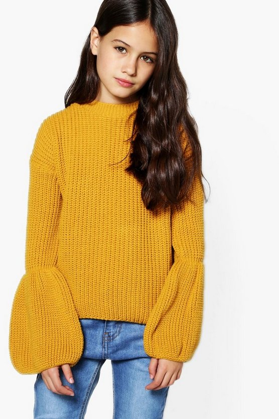 Girls Fluted Sleeve Knitted Jumper