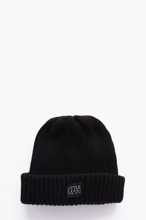 Boys Ribbed Turn Up Beanie
