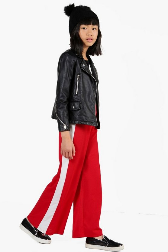 Girls Contrast Panel Wide Leg Trousers