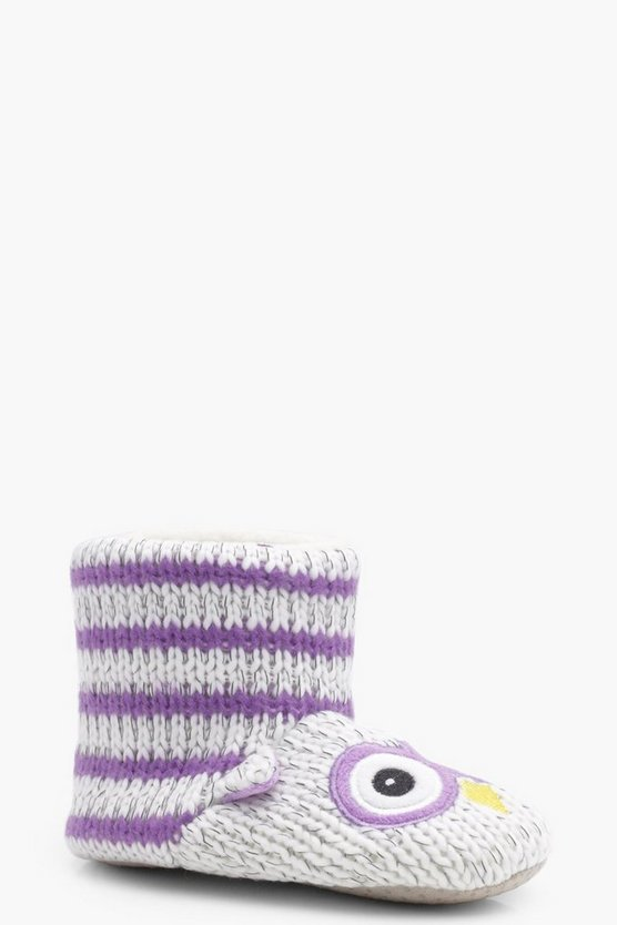 Girls Owl Knitted Slipper Boot