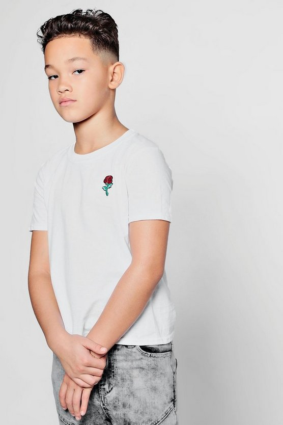 Boys Rose Embroidered T-Shirt