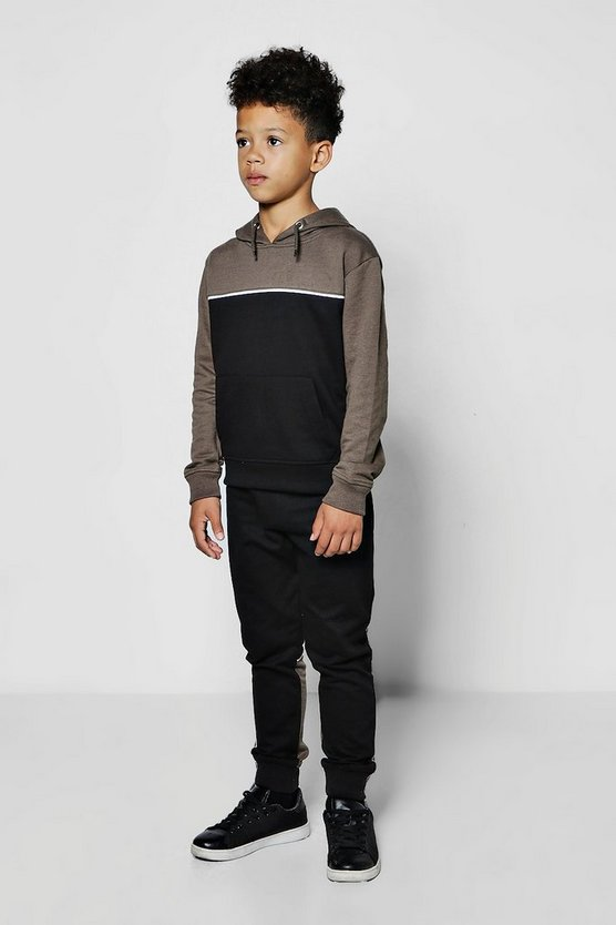 Boys Colour Block Hooded Tracksuit