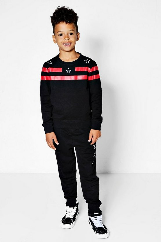 Boys Star Embroidered Sweat & Jogger Set