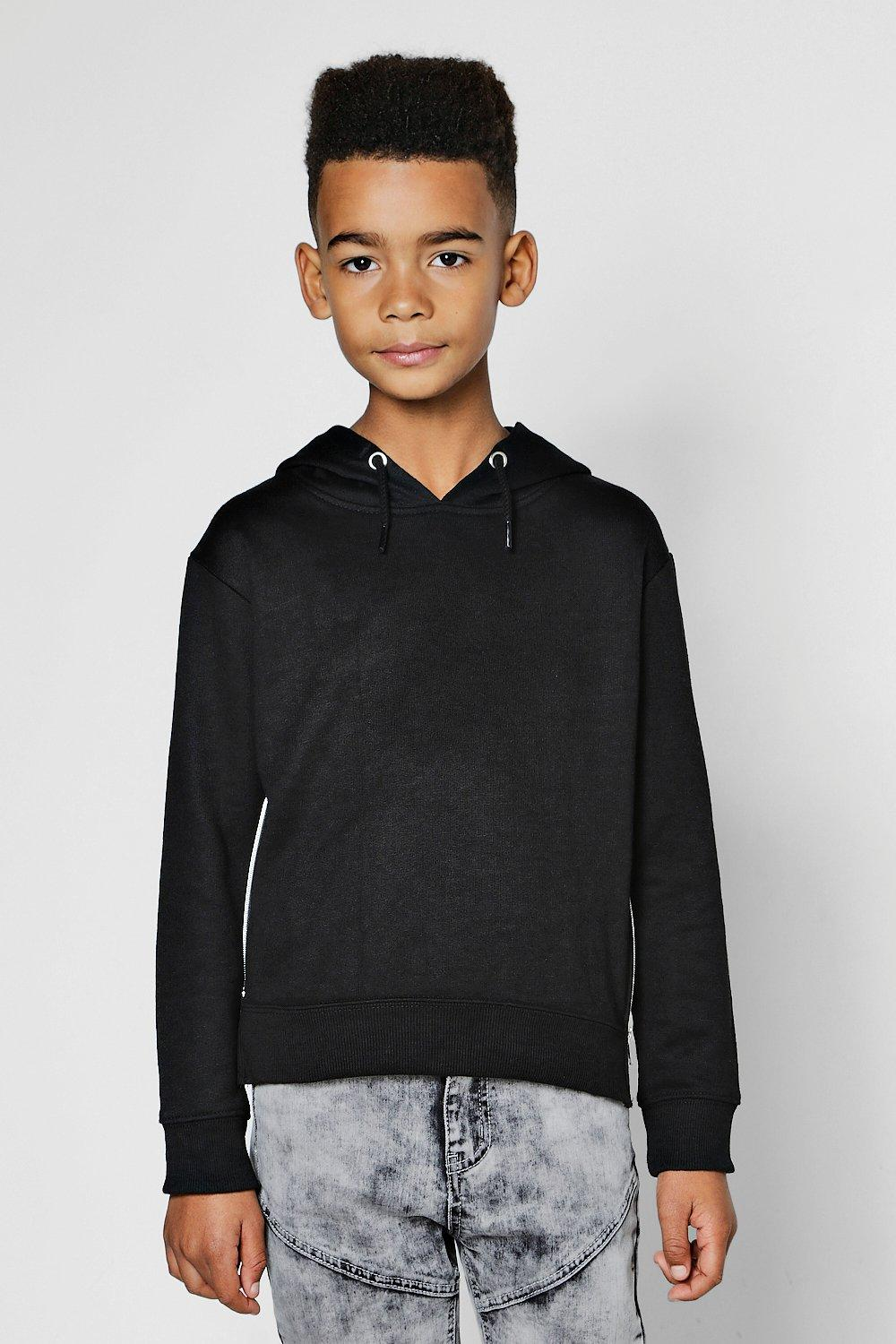 Boys Over The Head Hoodie Side Zip Detail