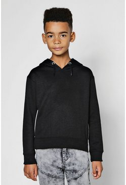 Mens Black Boys Over The Head Hoodie Side Zip Detail