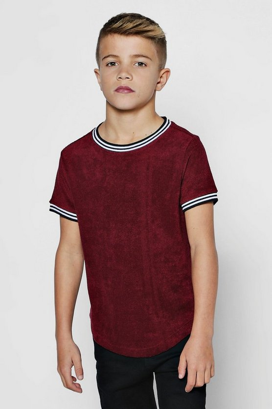 Mens Burgundy Boys Towelling T-Shirt With Sports Rib