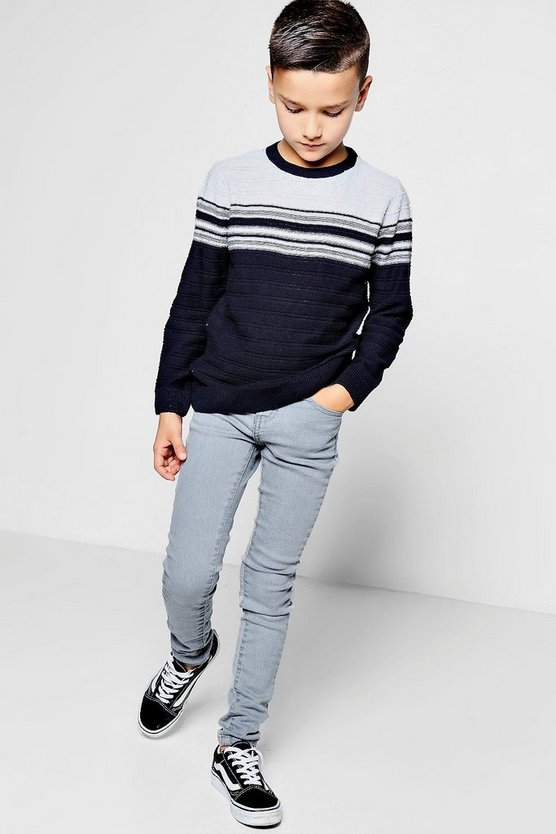Boys Ribbed Stripe Crew Neck Jumper