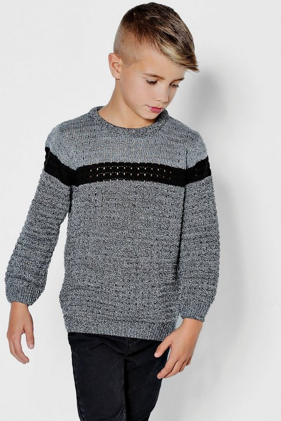 Boys Twisted Colour Block Stripe Crew Jumper
