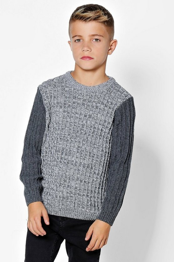 Boys Ribbed Crew Neck With Contrast Sleeves