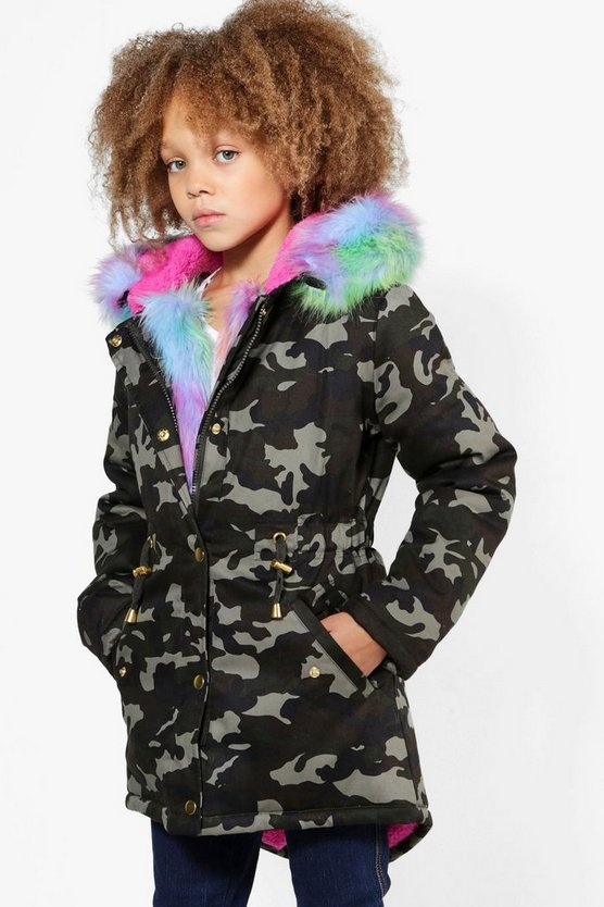 Girls Camo Padded Faux Fur Parka