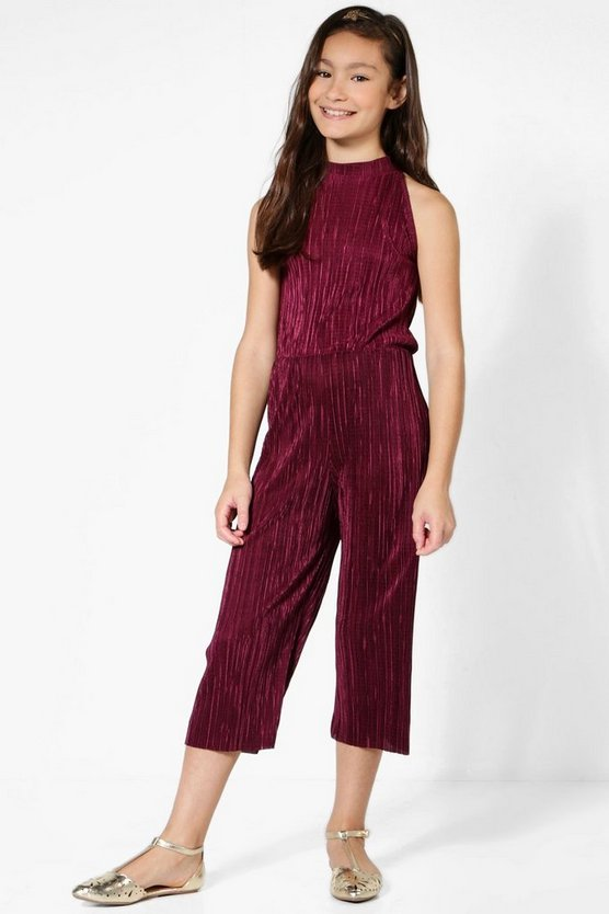 Girls Pleated High Neck Jumpsuit