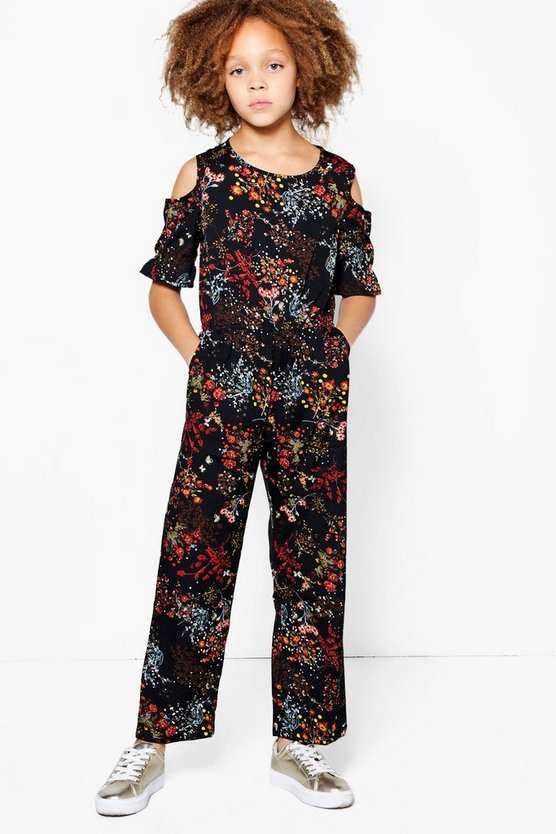 Girls Cold Shoulder Jumpsuit