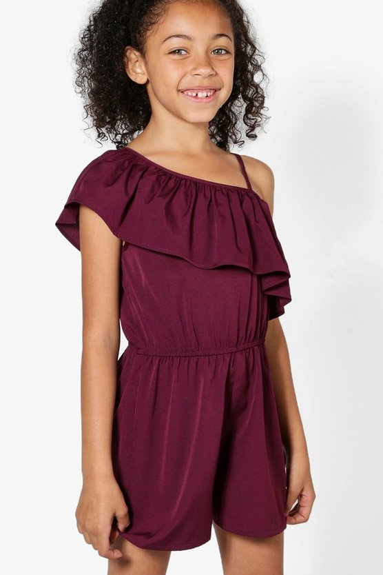 Girls One Shoulder Ruffle Playsuit