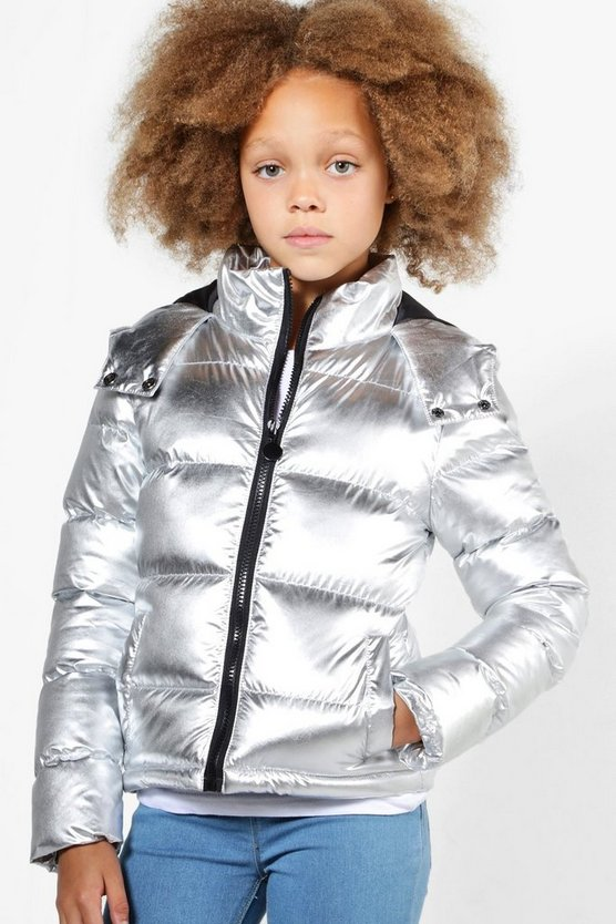 Girls Metallic Padded Winter Coat