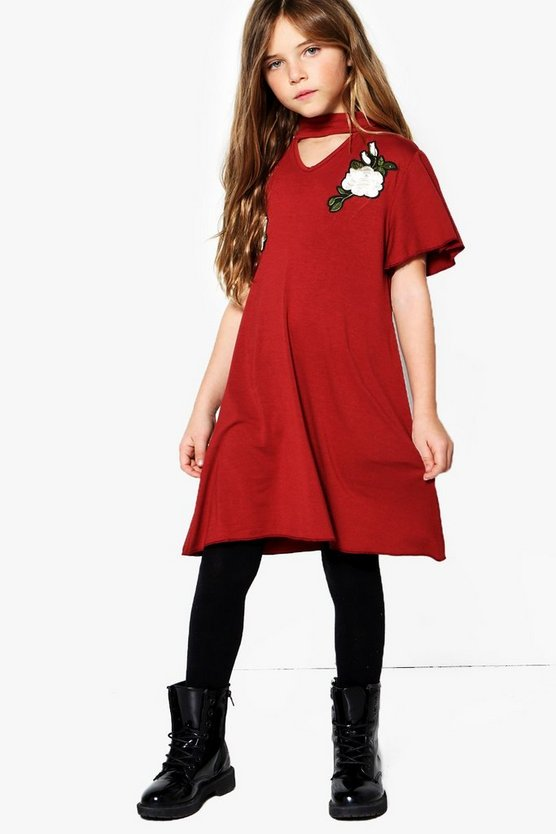 Girls Embroidered Choker Neck Dress
