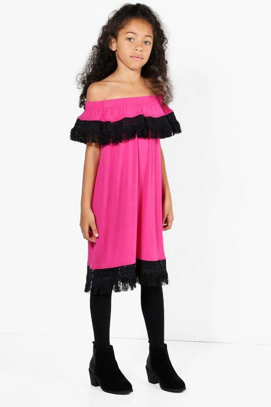 Girls Lace Trim Bardot Dress