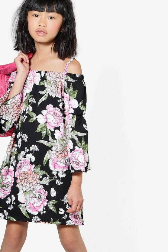 Girls Bardot Floral Flare Sleeve Dress
