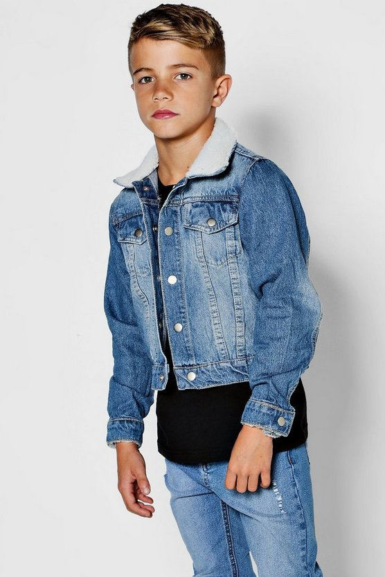Boys Borg Collar And Cuff Denim Jacket