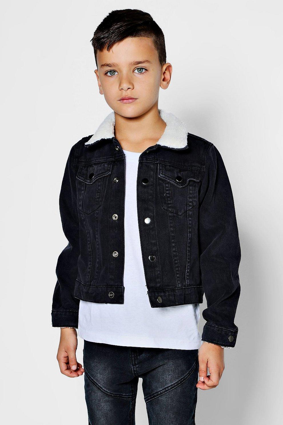 Boys Borg Collar And Cuff Denim Jacket Boohoo