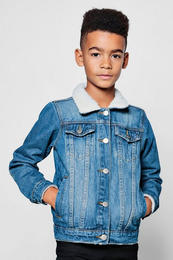 Boys Borg Collar Denim Jacket